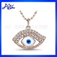 Evil Eye Pendant With Crystal Rose Gold Silver Necklace