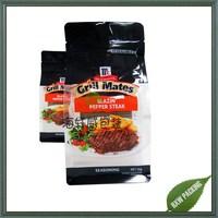custom design meat steak food seasoning packaging ziplock bag with clear window
