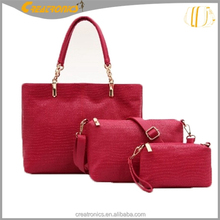 more cheaper 3 pieces hand bag and pu hand bags