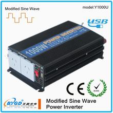 high-perfermance!1000watt power inverter12/24vdc 220vac modify since waved home power inverter with phone charge(Y1000U)