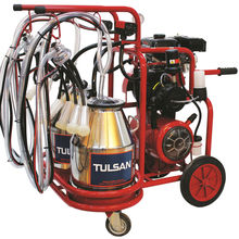TULSAN Classic Quadruple Milking with Gasoline Engine / Turbo Oily / Double Stainless Steel Buckets / Rubber Liners (Goat)
