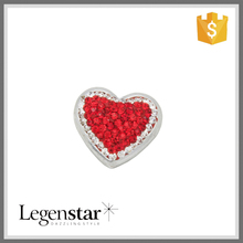 Latest Designs Loving Heart Red White Diamond Covered Snap Buttons NCB0461