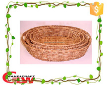 Wicker crafts simple oval corn husk food seed egg holder tray with handle