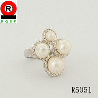 import china promotion new products zinc alloy four big pearl ring
