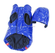 Autumn Winter Blue Hoodie Pet Dog Leather Waterproof Coat