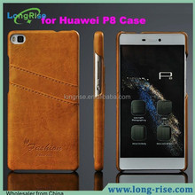 for Huawei P8 Case Cover with Card Slot, Oil Wax Line PU Leather Coated Hard Case for Huawei Ascend P8