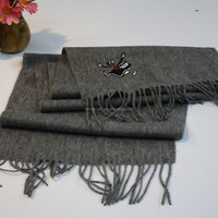 embroidered company logo grey winter scarf or winter hood scarf
