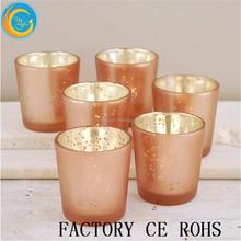 Mercury Votive Holders Rose Gold Set Of 6 Pcs / Glass Cups Jar / Glass Tealight For Wedding Table Decor
