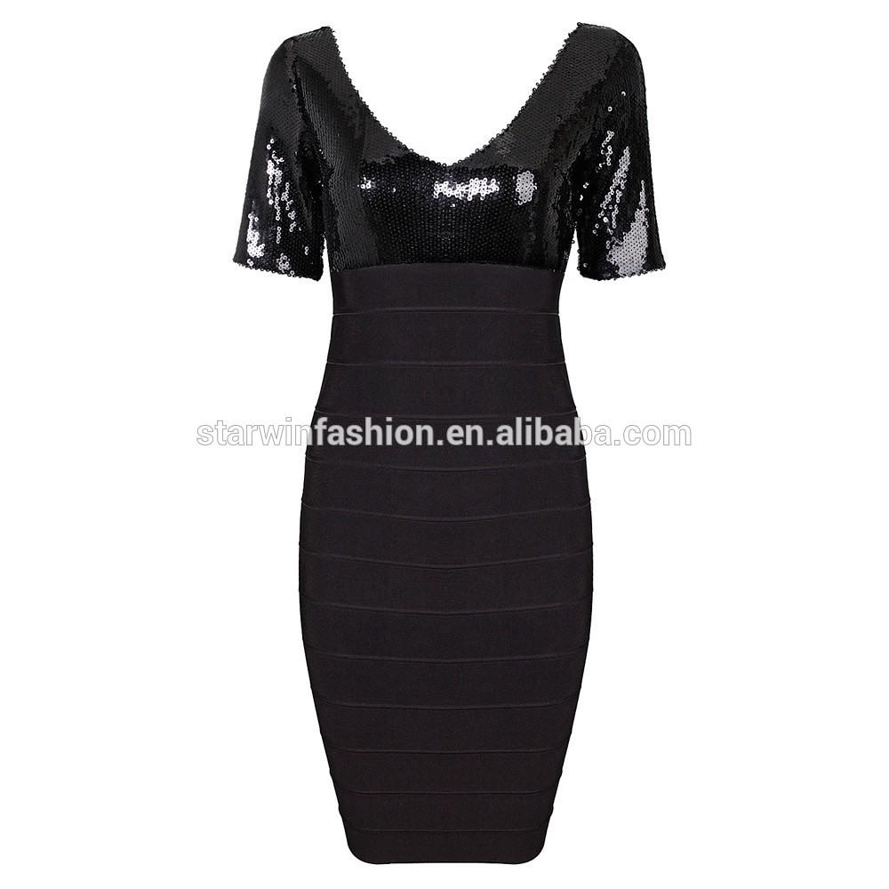Atacado lantejoulas mulheres de manga curta v- pescoço vestido de festa vestido preto cores