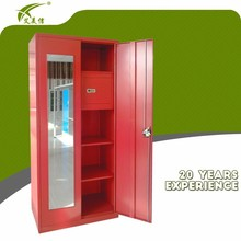 High quality double door bedroom wardrobe design with mirror