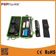 POPPAS 6618 High Power XML T6 Led Aluminium USB 5 pin Rechargeable Zoomable LED Flashlight Torch Set