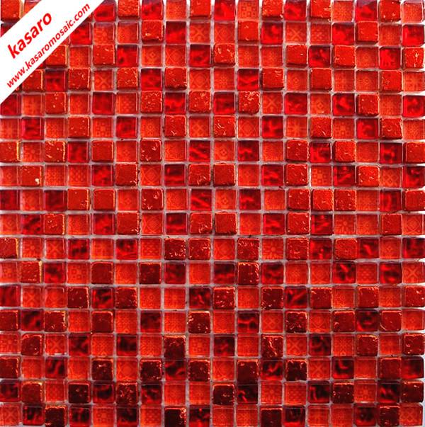 Rouge verre m lange carreaux en pierre de la mosa que for Carrelage mosaique rouge