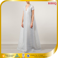 Women Plus Ball Gown Silver Short Sleeve Maxi Dresses UK