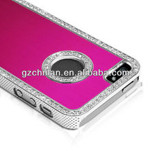 Chrome silver edge aluminum diamond metal case for iphone5