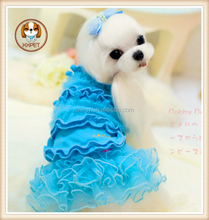 Factory price hot Sale Summer Polyester Cotton Pet Clothes Dog dress pink and blue Dog Apparel dresses for dog