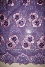 High quality swiss african lace Newest purple sequins organza