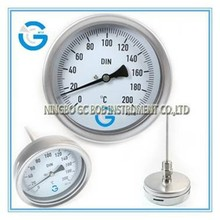 High quality 4 inch all stainless steel bayonet ring back connection industry thermometer