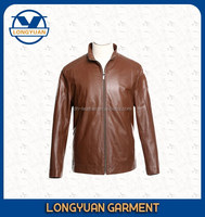 Good quality latest design fashion casual brown men parka leather jacket custom style