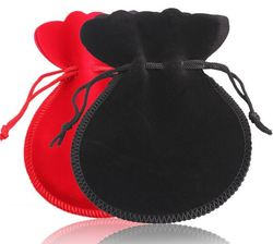 5x7cm black and red Velvet Gift Pouch/Jewelry Bag Fabric cloth sack packaging bag Free shipping