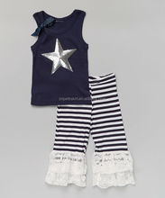 Navy tank with star pattern baby girl summer set baby girl boutique clothing sets girls chevron pant set