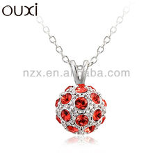 OUXI 2015 Summer red crystal ball necklace made with swarovski crystal 10629