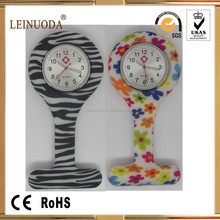 Wholesale colorful flower zebra paw silicone band nurse watches
