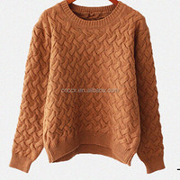 15ASW1045 Braid acrylic long sleeve knit sweater for young girls