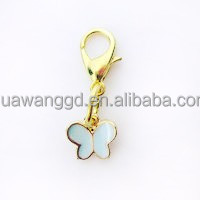 Hot sale newest style gold plated blue enamel butterfly with lobster Clasp dangle floating charms