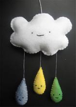 Hand Made Decoration Felt Rain Cloud Hanging Nursery Mobile For Nursery Decor