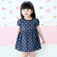 80191 baby clothes wholesale price girls blue dot boutique princess dress with short sleeve