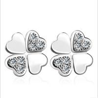 925 sterling silver four leaf clover lucky girls lovely earring covering the ear