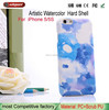Creative watercolor phone case for iPhone 5 5S Multi-color printing romantic phone shell for apple iphone5s