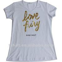 Women Golden printing t shirt custom