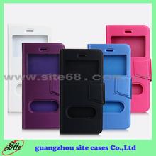TPU+PU Fundas de cuero de teléfono para Apple Iphone6 con ventanas dobles