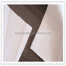 LOW MOQ 100% polyester woven 125gsm micro suede bonded with TC sofa fabric