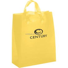 Customized size and design yellow HDPE soft loop handle shopping bag with black logo printing
