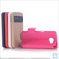 Window View With Invisible Magnetic Closure Flip Leather Cover Folio Case Stand Card Holder Slot Case for Samsung Galaxy S6
