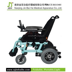 Light weight electric folding wheelchair with lithium battery luggages