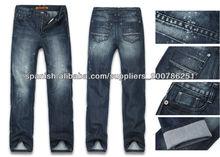 acezung de la marca de los hombres de moda de nieve recto lavada jean dril de algodón pantalones
