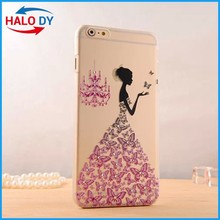 Elegant girl's address printing pc case cover for iphone, customized designs ok