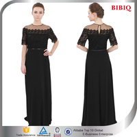 New Arrival Women's Lace Short Sleeves Sequined Black Dress Evening