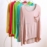 Hot Sale Casual Cotton Short Sleeve Solid Long Length Loose Bottom Basic Maternity T-shirts for Girls