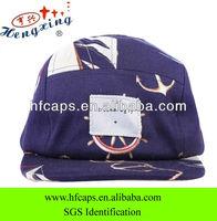 Purple plain strap back flower custom 5 panel hats for sale