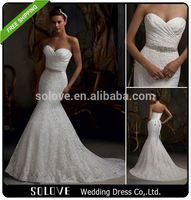 court train Mermaid arabic wedding dress picture with sash