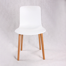 Good quality plastic chair with wooden leg