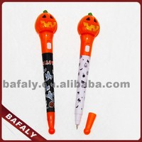 Promotion hot sell new style factory directly flashing halloween light up pen,halloween promotion ball pen,halloween ball pen