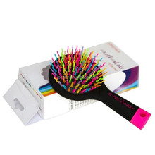 Eye Candy Rainbow S-Curl Air Volume Brush With Back Mirror for Abundant hair & Detangling Comb