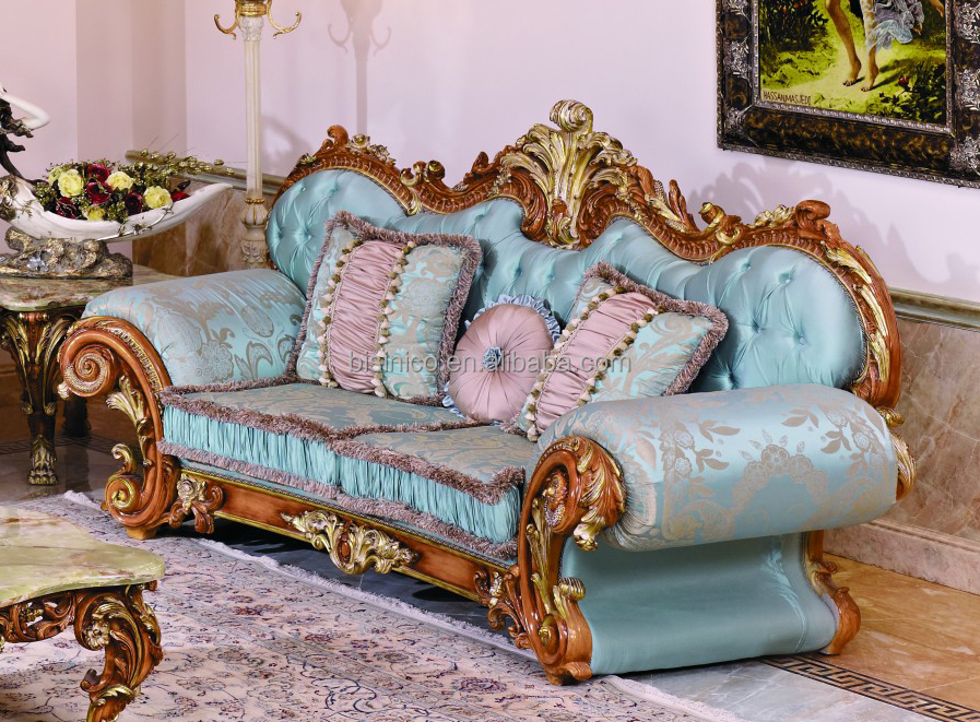Luxury French Baroque Style Living Room Blue Sofa Set Fancy Palace Style Wood Carving