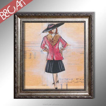 Wall printing cartoon painting digital figure modern lady print painting