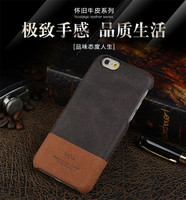 Fashion kajsa Genuine leather hard back case for iphone 6 real leather case